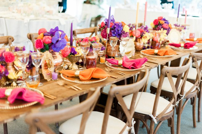 Styled wedding breakfast table orange purple pink | Kelly Chandler Consulting