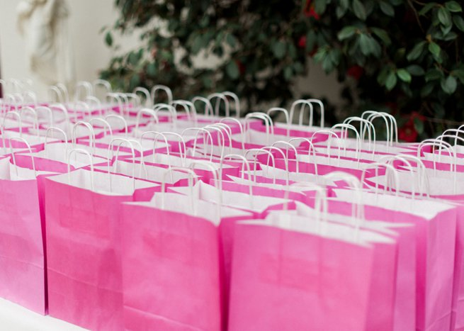Rows of pink A4 goodie bags | Kelly Chandler Consulting
