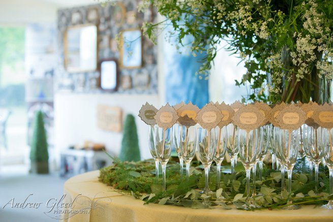 Champagne flutes with name cards | Kelly Chandler Consulting