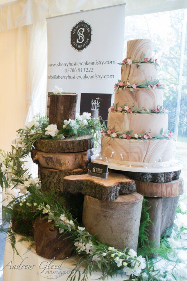 Log / tree styled wedding cake display