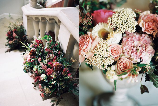 Staircase and flower arrangements Warmwell House   Kelly Chandler Consulting