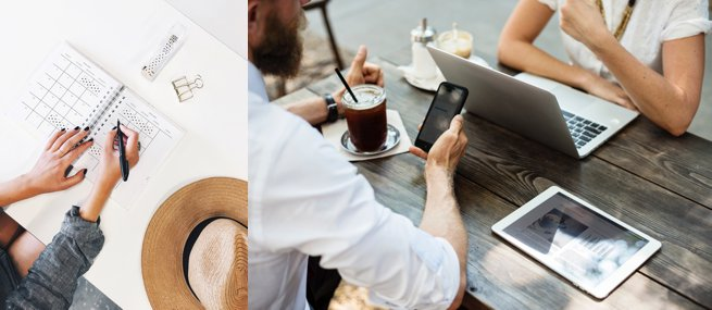Two people sitting at a table with a laptop ipad and phone | Kelly Chandler Consulting