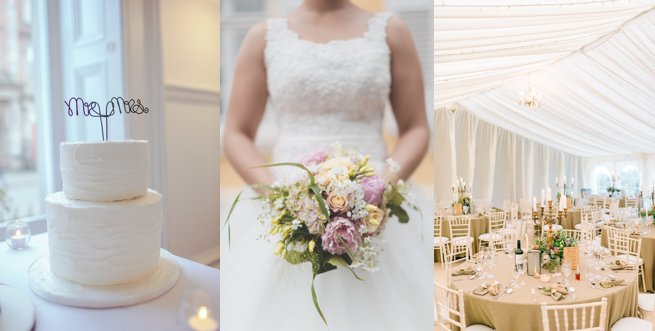 Wedding cake bride holding flowers and wedding table settings | Kelly Chandler Consulting