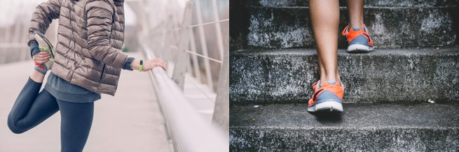 Lady with running shoes stretching and walking up stairs | Kelly Chandler Consulting