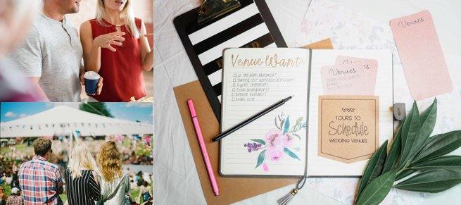 Wedding journal and couple viewing a wedding venue | Kelly Chandler Consulting