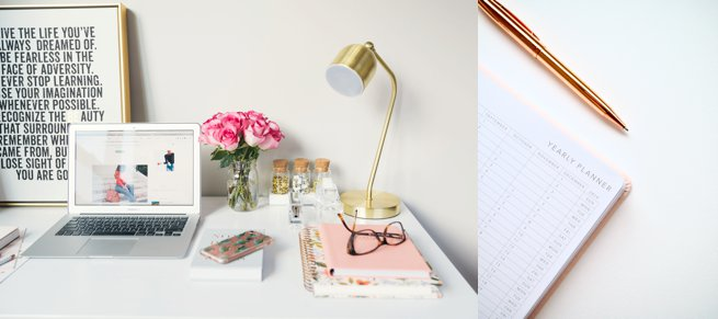 Laptop and desk and note pad with gold pen | Kelly Chandler Consulting